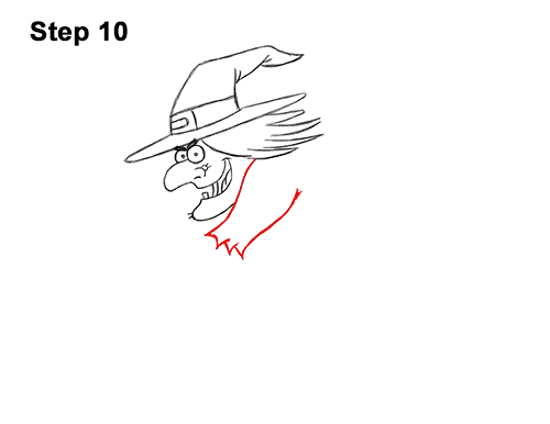 How to Draw Cartoon Witch Flying Broom Halloween 10