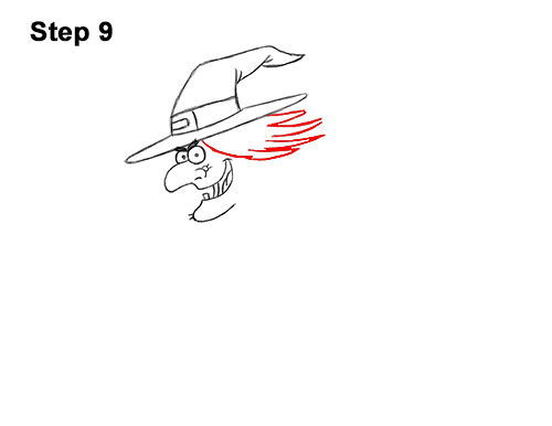 How to Draw Cartoon Witch Flying Broom Halloween 9