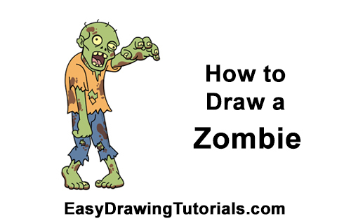 How To Draw A Cartoon Zombie Video Step By Step Pictures