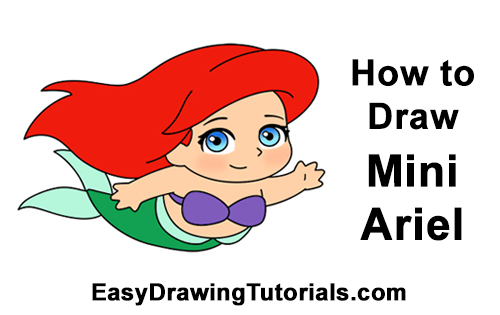 How to Draw Mini Chibi Little Mermaid Ariel