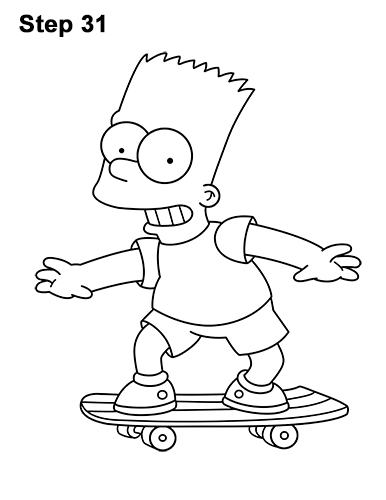 How to Draw Bart Simpson Full Body Skateboard Skater Skating 31