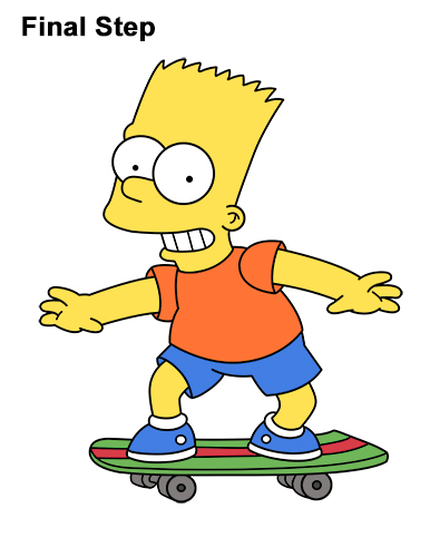 How to Draw Bart Simpson Full Body Skateboard Skater Skating