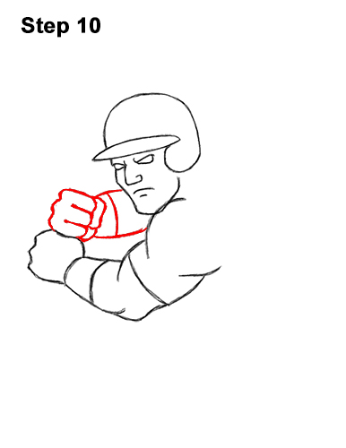 How to a Draw Cartoon Baseball Player Batter 10
