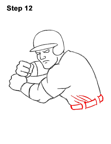 How to a Draw Cartoon Baseball Player Batter 12