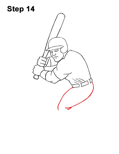 How to a Draw Cartoon Baseball Player Batter 14