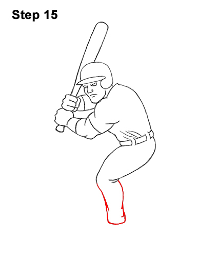 How to a Draw Cartoon Baseball Player Batter 15