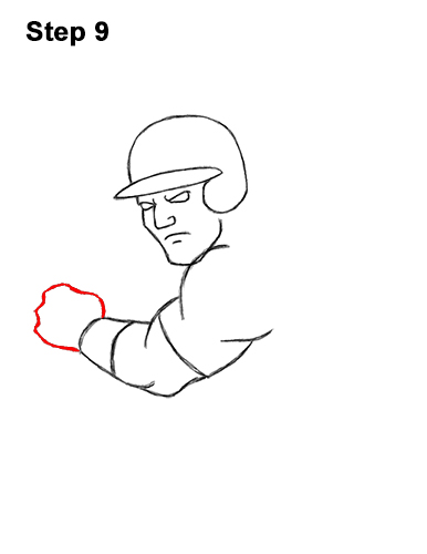 How to a Draw Cartoon Baseball Player Batter 9