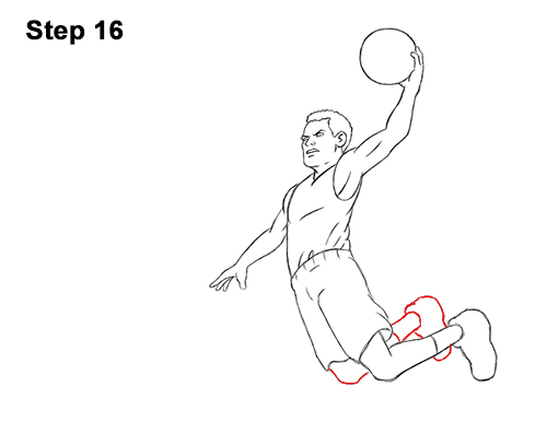 How to a Draw Cartoon Basketball Player Dunking 16