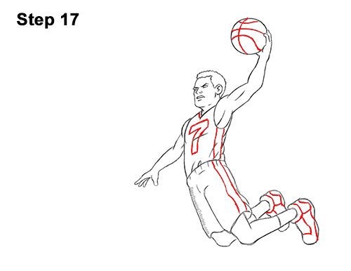 How to a Draw Cartoon Basketball Player Dunking 17