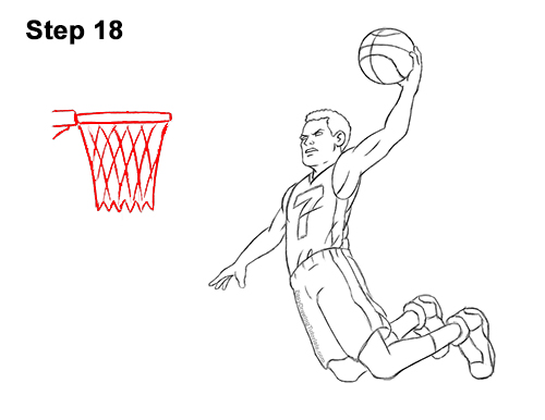 How to a Draw Cartoon Basketball Player Dunking 18