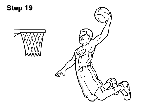 How to a Draw Cartoon Basketball Player Dunking 19