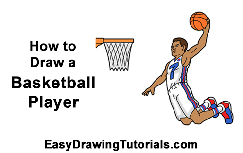 How to a Draw Cartoon Basketball Player Dunking