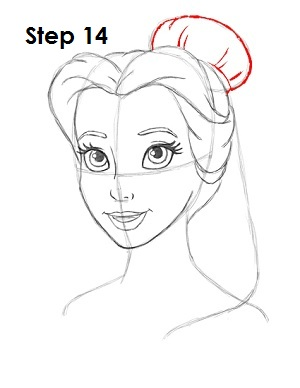 How to Draw Belle Step 14