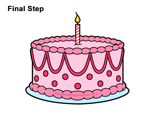 How To Draw A Birthday Cake.How To Draw A Birthday Cake Video Step By Step Pictures