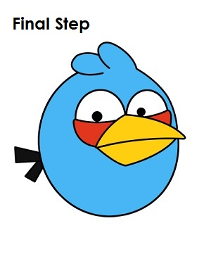 Draw Blue Angry Bird Completed Drawing