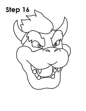 How to Draw Bowser Step 16