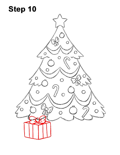 How to Draw Cartoon Christmas Tree with Presents 10