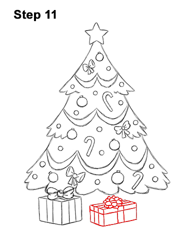 Drawing Of A Christmas Tree.How To Draw A Christmas Tree Video Step By Step Pictures