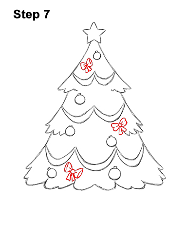 How to Draw Cartoon Christmas Tree with Presents 7