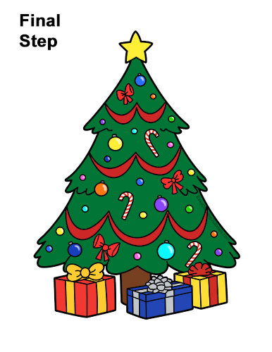 How to Draw a Christmas Tree VIDEO & Step-by-Step Pictures