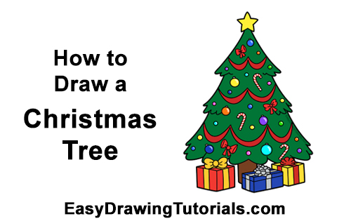 Drawings Of Christmas Presents.How To Draw A Christmas Tree Video Step By Step Pictures