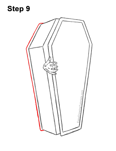How to Draw a Coffin Zombie Hand Halloween 9