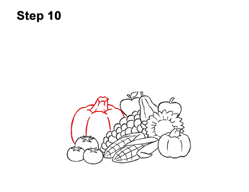 How to Draw Cartoon Cornucopia Thanksgiving 10