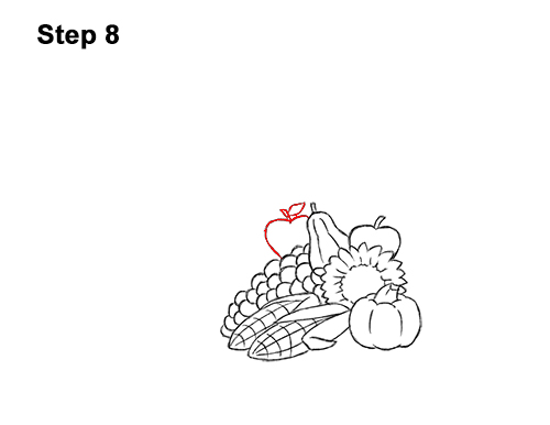 How to Draw Cartoon Cornucopia Thanksgiving 8