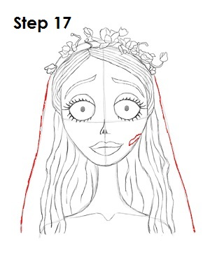 How to Draw Corpse Bride Step 17