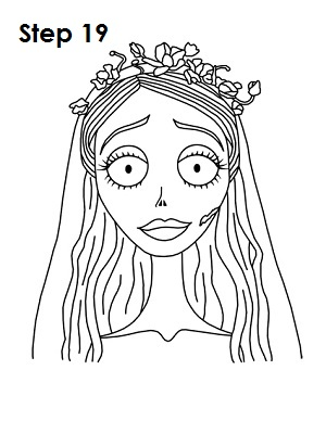 How to Draw Corpse Bride Step 10
