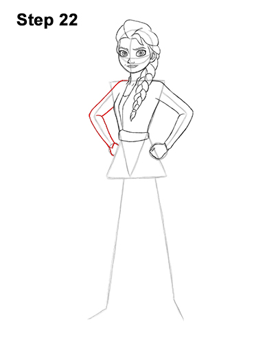 How to Draw Queen Elsa Frozen Two II Dress Outfit Full Body 22