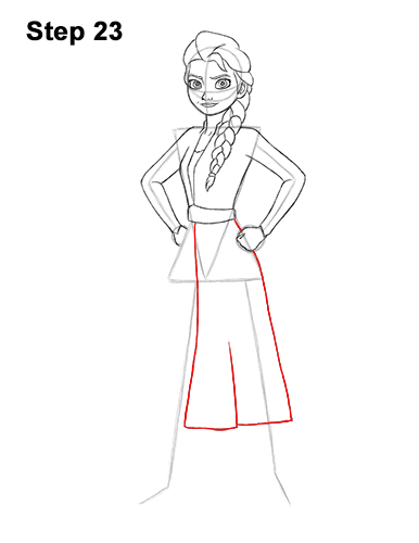 How to Draw Queen Elsa Frozen Two II Dress Outfit Full Body 23