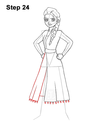 How to Draw Queen Elsa Frozen Two II Dress Outfit Full Body 24