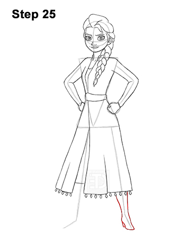 How to Draw Queen Elsa Frozen Two II Dress Outfit Full Body 25