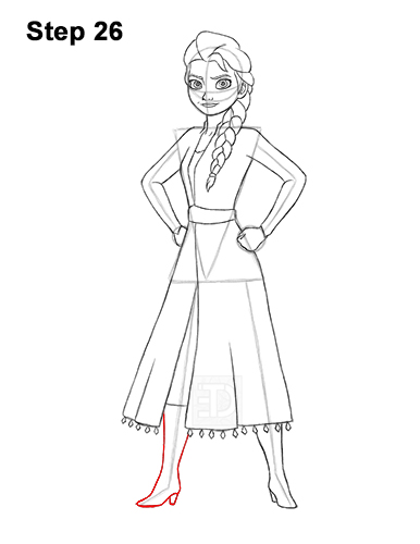 How to Draw Queen Elsa Frozen Two II Dress Outfit Full Body 26