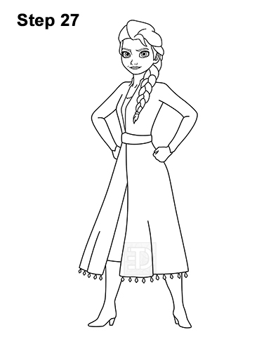 How to Draw Queen Elsa Frozen Two II Dress Outfit Full Body 27