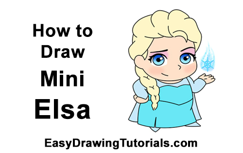 How to Draw Mini Chibi Little Elsa Frozen