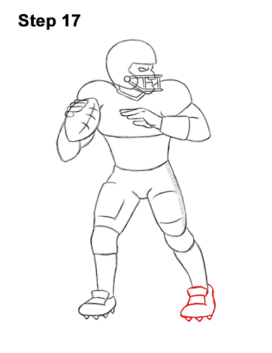 How to Draw a Cartoon Football Player Quarterback 17