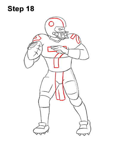 How to Draw a Cartoon Football Player Quarterback 18