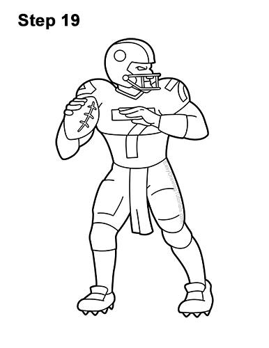 How to Draw a Cartoon Football Player Quarterback 19