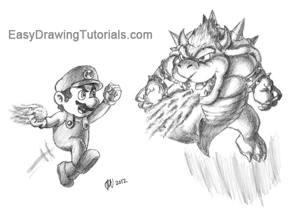 Mario Vs Bowser Drawing Giveaway Pencils