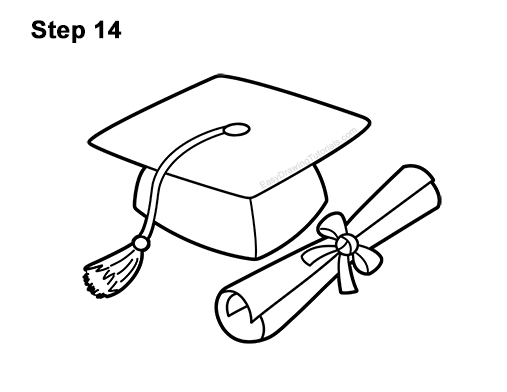 How to Draw a Graduation Cap with Diploma VIDEO & Step-by