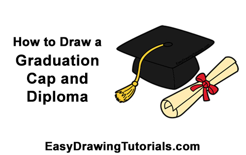 How to Draw Cartoon Graduation Cap Diploma Mortarboard