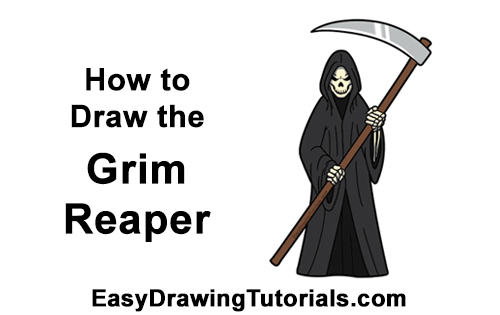 How to Draw Scary Halloween Grim Reaper Scythe Skeleton
