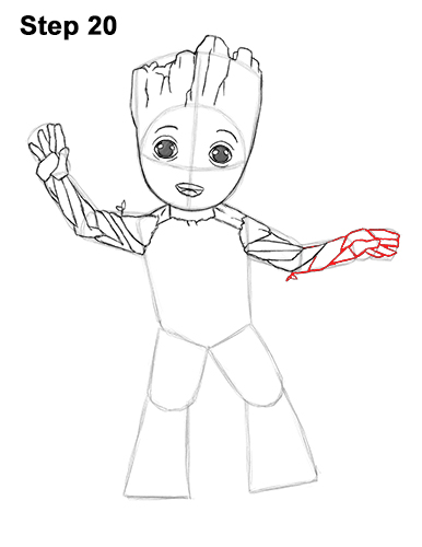 How to Draw Baby Groot Full Body Guardians of the Galaxy 20
