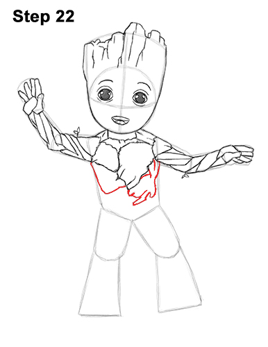 How to Draw Baby Groot Full Body Guardians of the Galaxy 22
