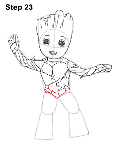 How to Draw Baby Groot Full Body Guardians of the Galaxy 23