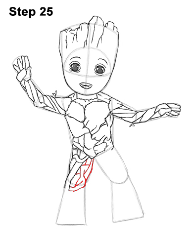 How to Draw Baby Groot Full Body Guardians of the Galaxy 25