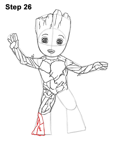 How to Draw Baby Groot Full Body Guardians of the Galaxy 26