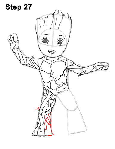 How to Draw Baby Groot Full Body Guardians of the Galaxy 27